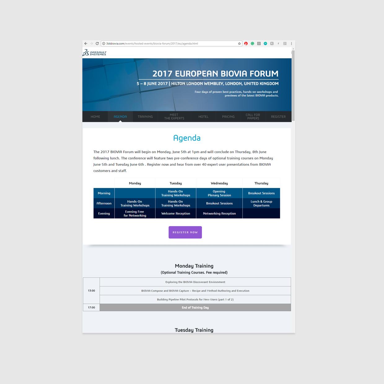 Biovia Forum Event Website